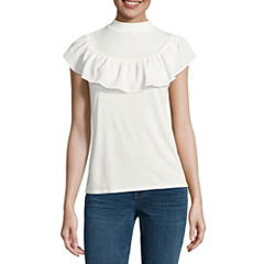 a.n.a Short Sleeve Round Neck Knit Blouse