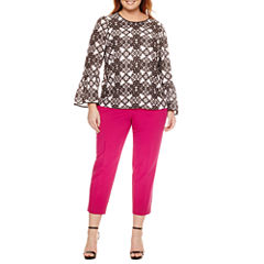 LONG EXAGGERATED FLARE SLEEVE BLOUSE, ANKLE PANT