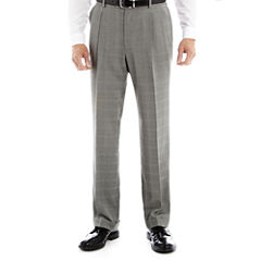 Stafford® Travel Year-Round Gray Plaid Pleated Pants