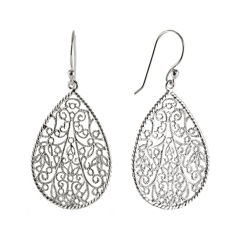 Silver Reflections™ Silver-Plated Filigree Pear-Shaped Drop Earrings