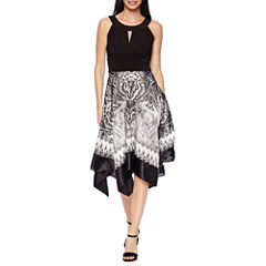 Melrose Sleeveless Scarf-Print Sharkbite Dress