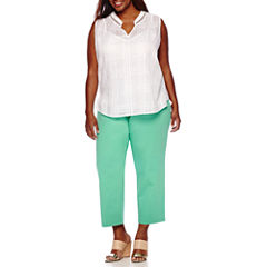 Liz Claiborne® Sleeveless Band Collar Pleated Back Tunic or Emma Ankle Pants - Plus