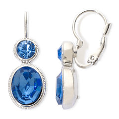 Monet® Silver-Tone Blue Stones Double-Drop Earrings