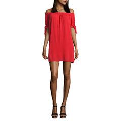My Michelle Short Sleeve A-Line Dress-Juniors