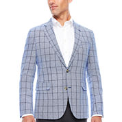 Stafford Linen Cotton Bright Blue WP Sport Coat-Slim Fit