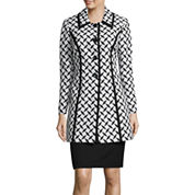 Isabella Long-Sleeve Jacquard Coat Skirt Suit