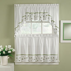 Clover Embroidered Rod-Pocket Kitchen Curtains