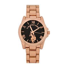 U.S. Polo Assn.® Womens Black Dial Rose-Tone Bracelet Watch