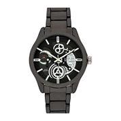 U.S. Polo Assn.® Mens Black Skeleton Dial and Gunmetal Link Watch
