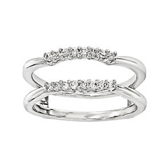1/6 CT. T.W. Diamond 14K White Gold Ring Guard
