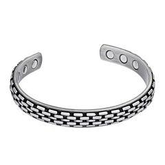 Men's Grey Stainless Steel Cuff Bracelet