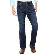 Claiborne® Dark Intense Straight Leg Stretch Jeans