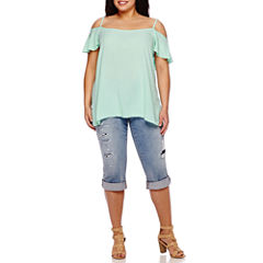 Boutique+ Cold-Shoulder Ruffle Top or Destructed Skinny Cropped Jeans - Plus