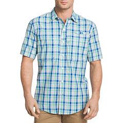 IZOD Saltwater Surfcaster Short Sleeve Plaid Button-Front Shirt