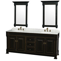 Andover 80 inch Double Bathroom Vanity; White Carrera Marble Countertop; Undermount Oval Sinks; and28 inch Mirrors