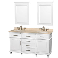 Berkeley 60 inch Double Bathroom Vanity; Ivory Marble Top with White Undermount Oval Sinks and 24 inch Mirrors