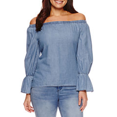 Bisou Bisou Off The Shoulder Chambray Top