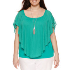 Alyx Short Sleeve Tie Shoulder Textured Knit Overlay Blouse with Necklace-Plus