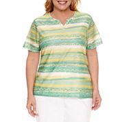 Alfred Dunner Bahama Bays Short Sleeve Split Crew Neck T-Shirt-Plus