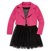 Total Girl® 2-pc. Moto Jacket Skater Dress - Girls 7-16 and Plus