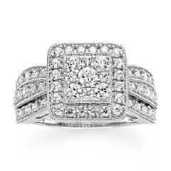1 CT. T.W. Diamond 10K White Gold Square Milgrain Ring