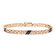 Mens Onyx 10K Gold Link Bracelet