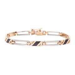 Mens 14K Two-Tone Gold with Onyx Bracelet