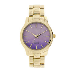 Womens Iridescent Dial Gold-Tone Bracelet Watch