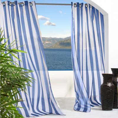 Escape Stripe Grommet Top Outdoor Curtain Panel