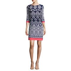 Tiana B 3/4 Sleeve Puff Paint Detail Sheath Dress-Petites