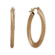10K Yellow Gold Diamond Cut Corrugated Hoop Earrings