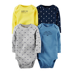 Carter's® 4-pk. Long-Sleeve Mustache Bodysuits - Baby Boys newborn-24m