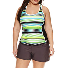 Zeroxposur Stripe Tankini Swimsuit Top or Swim Shorts-Plus