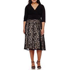 Melrose Elbow-Sleeve Lace Skirt Fit-and-Flare Dress - Plus
