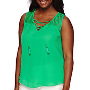 by&by Sleeveless Lace Yoke Peasant Top - Juniors Plus