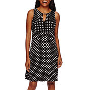 Liz Claiborne® Sleeveless Polka-Dot Fit-and-Flare Dress