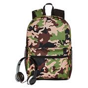 Camo Backpack with Headphones