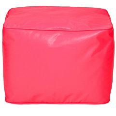 Faux-Leather Beanbag Ottoman