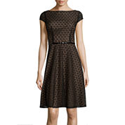 Black Label by Evan-Picone Cap-Sleeve Belted Lace Fit-and-Flare Dress