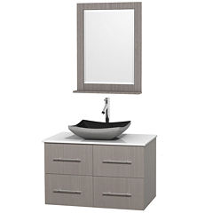Centra 36 inch Single Bathroom Vanity; White Man-Made Stone Countertop; Altair Black Granite Sink; and 24 inch Mirror