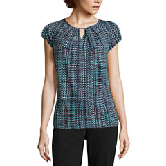 Liz Claiborne Short Sleeve Keyhole Neck T-Shirt