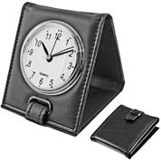Natico Faux-Leather Travel Alarm Clock