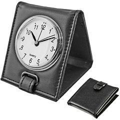 Natico Faux-Leather Travel Alarm Clock