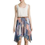 Luxology Sleeveless Crochet Print Dress