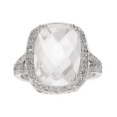 Genuine White Quartz Sterling Silver Ring