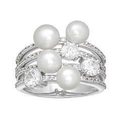 Certified Sofia™ Bridal Cultured Freshwater Pearl & Swarovski® Cubic Zirconia Sterling Silver Ring