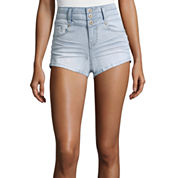 Blue Spice High-Rise Button Stacked Shorts