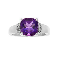 Genuine Amethyst and White Topaz Sterling Silver Ring