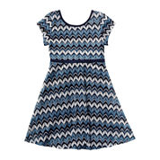 Youngland® Short-Sleeve Blue Chevron Skater Dress - Preschool Girls 4-6x