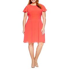 London Times Short Sleeve Fit & Flare Dress-Plus